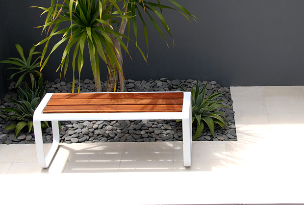 Modern Outdoor Bench With Wood Top Seat Lebello Aluminum