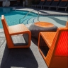 Custom color combination of the B Chair 2 Orange and Titanium inner color, AVA Burbank, CA