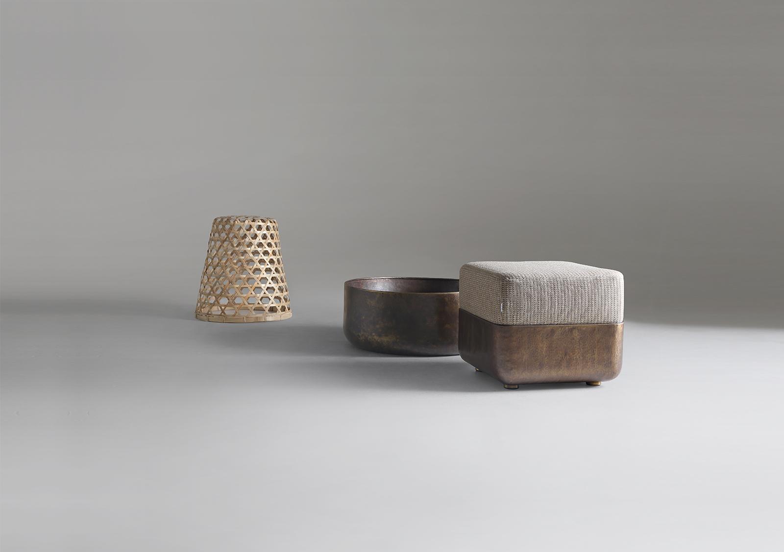 Cube Outdoor Brass Stools Lebello Furniture