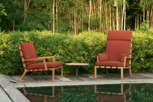 Strap Teak Lounger by Christophe Pillet